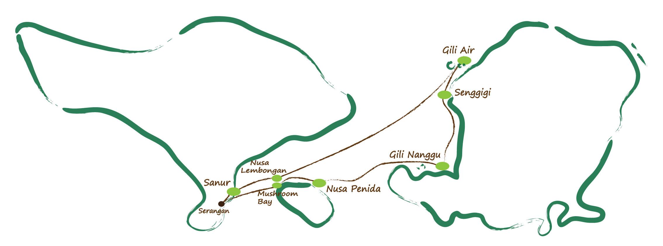 Carte Bali Serangan.Circuit Prive Bali Indonesie Croisiere Bali Lombok